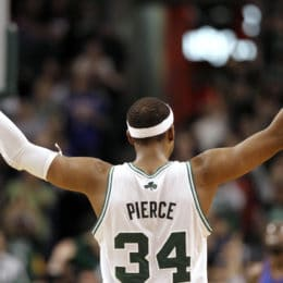 Paul Pierce was drafted 10th over all by the Celtics in 1998 out of the University of Kansas.